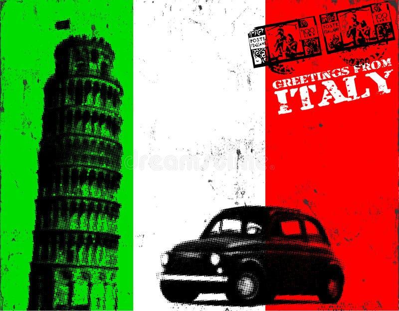 Poster de Grunge Italy ilustração stock