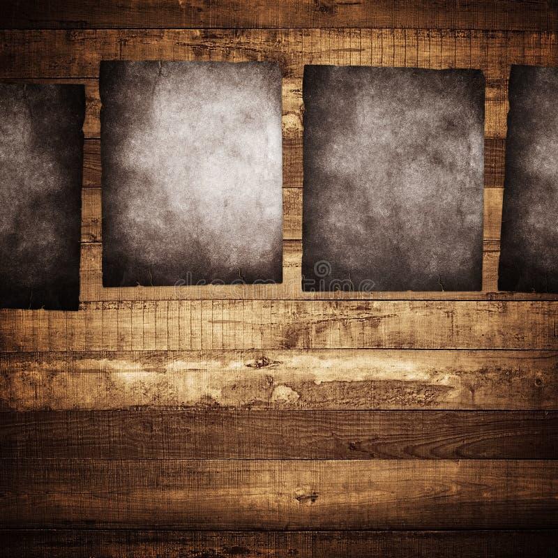 Poster de Grunge no fundo de madeira ilustração royalty free