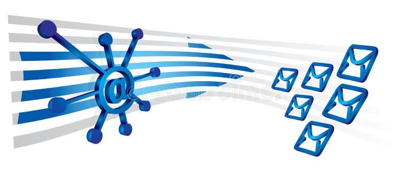 Poster de uma comunicação com envelopes ilustração do vetor