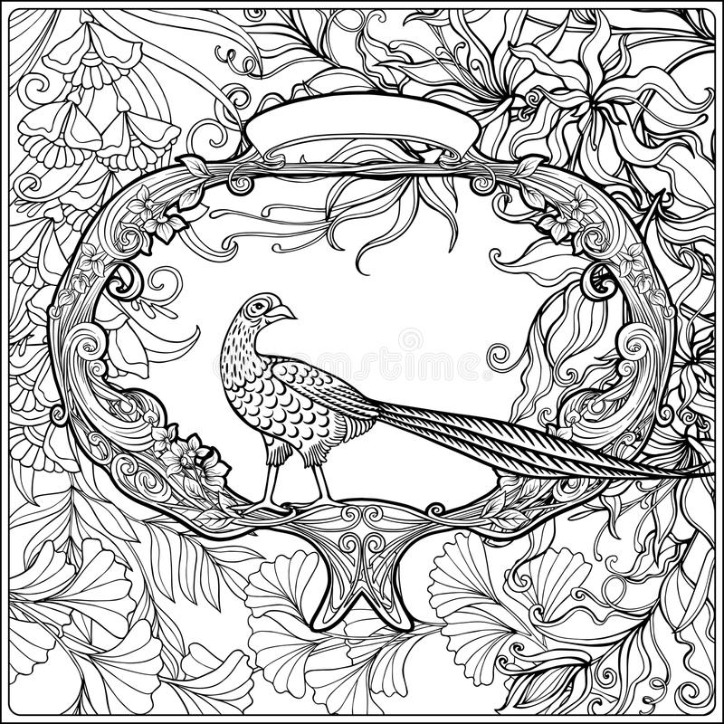 - Poster With Decorative Flowers And Carp Fish In Art Nouveau Style. Page For  The Adult Coloring Book Stock Vector - Illustration Of Page, Banner:  123979060