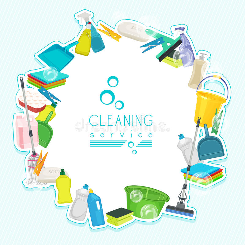 Poster Design For Cleaning Service And Cleaning Supplies