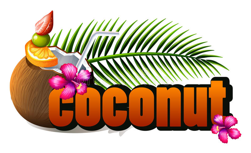 Poster design with fresh coconut and wording royalty free illustration