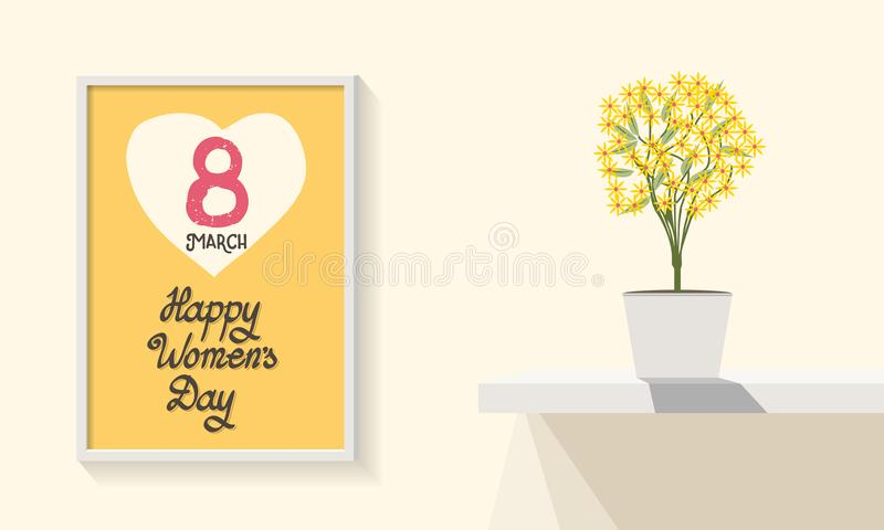 Poster template. Happy Women`s Day March 8th. Interior design. Trendy design. Greeting card. Flat design. Vector illustration. Min stock images