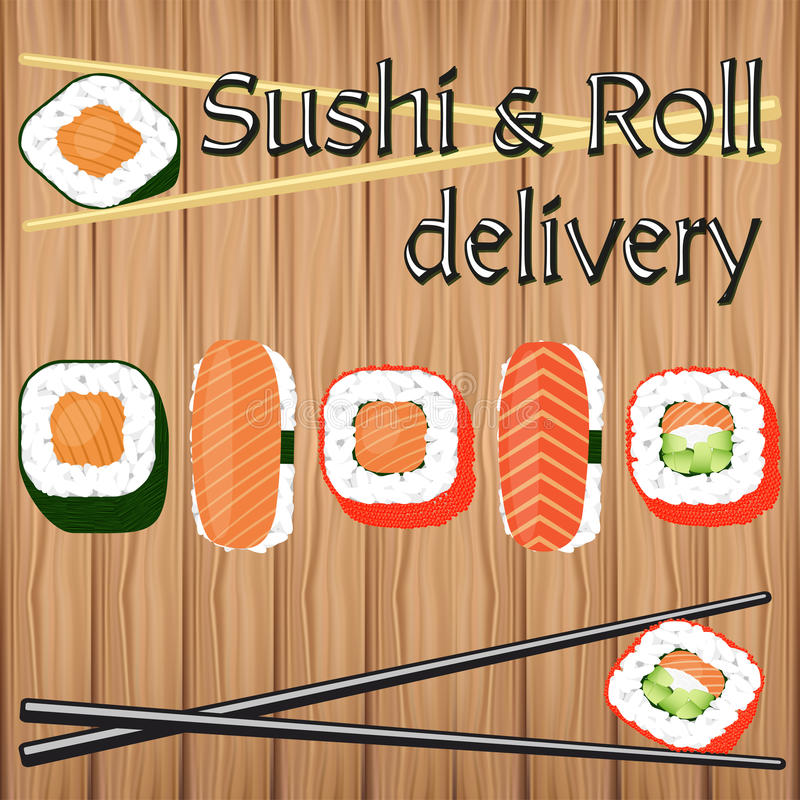 Poster design for japanese food delivery in flat vector style. stock illustration