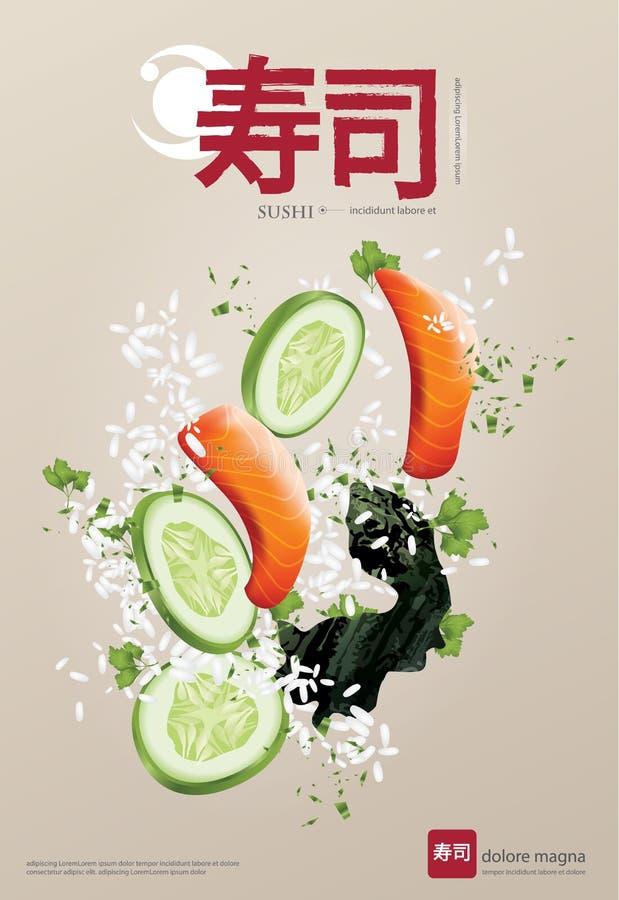 Poster Design of Sushi Restaurant. Poster of Sushi Restaurant Vector illustration royalty free illustration