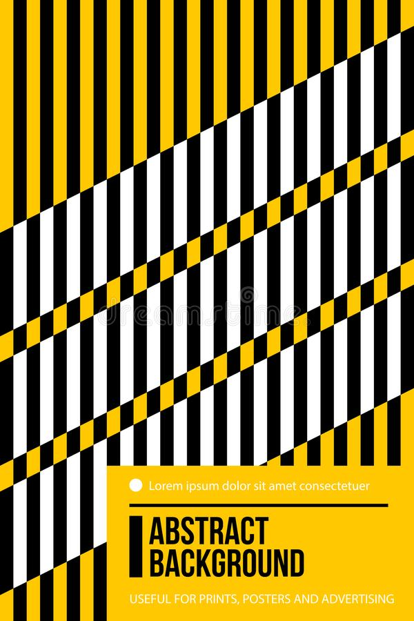 Download poster design template with black white and yellow stripes in colorful retro minimalism style