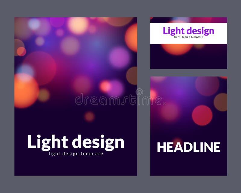 Poster Design Template With Bokeh Light Effect Vector Modern Card