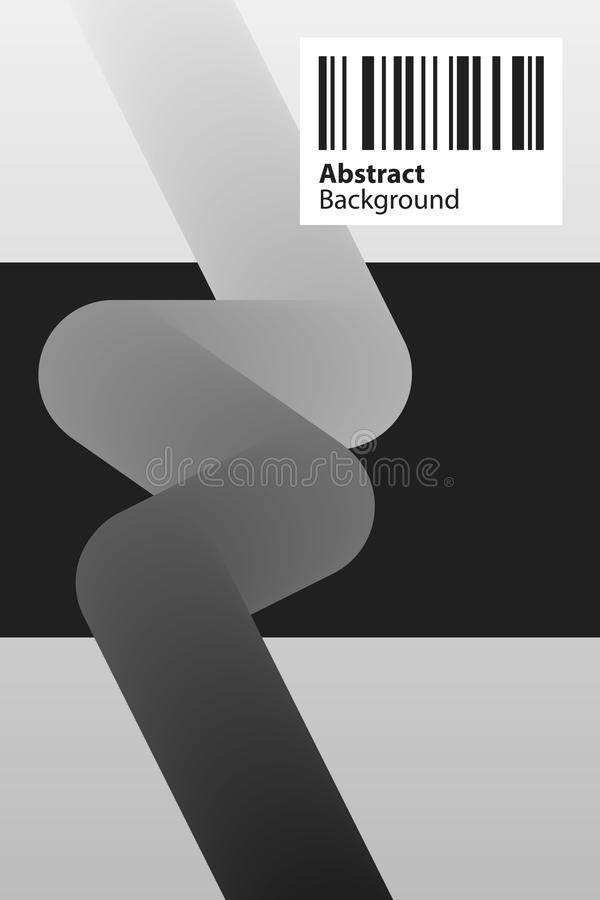 Poster design template with soft 3d element in black and white style. Abstract vector background stock illustration