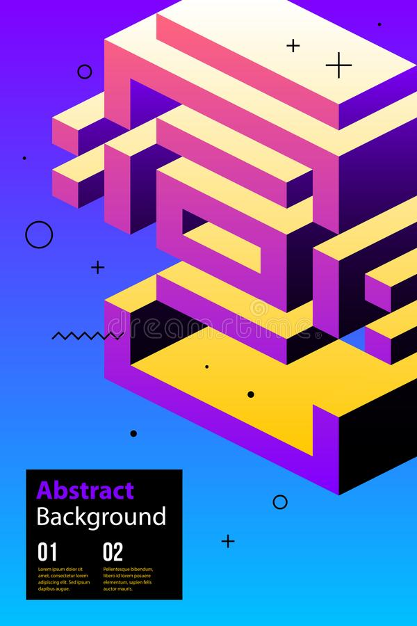 Poster design with weird isometric element in modern style royalty free illustration