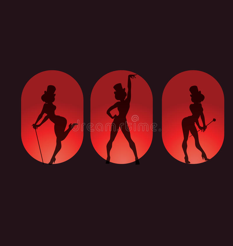 Free Poster Design With Silhouette Cabaret Burlesque Royalty Free Stock Image - 47888076