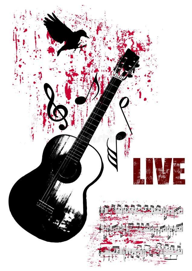 Poster do concerto de Grunge ilustração stock