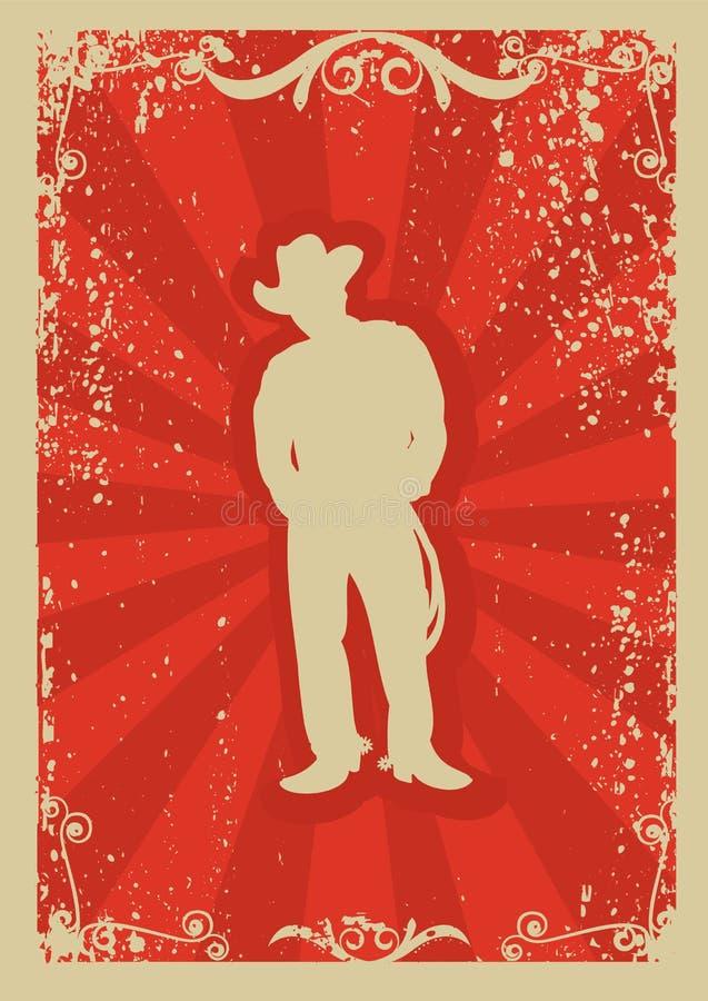 Poster do cowboy ilustração royalty free