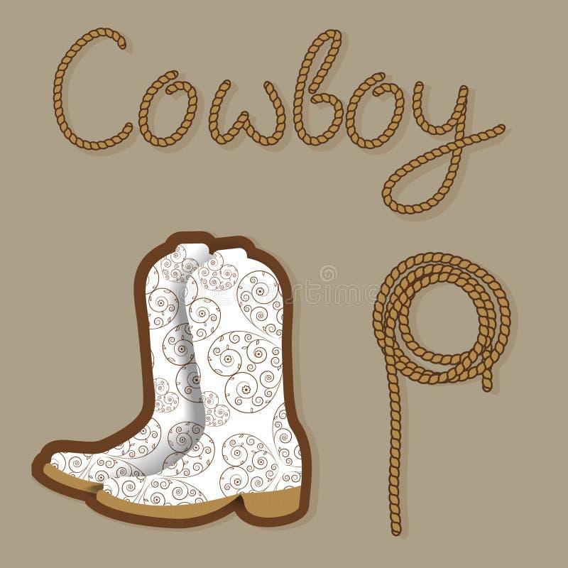 Poster do cowboy Fundo ocidental selvagem para seu projeto ilustração royalty free