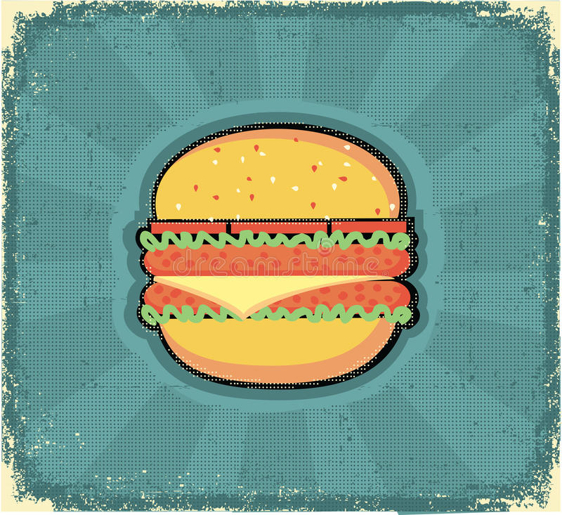 Poster do Hamburger. Imagem retro no papel velho ilustração do vetor