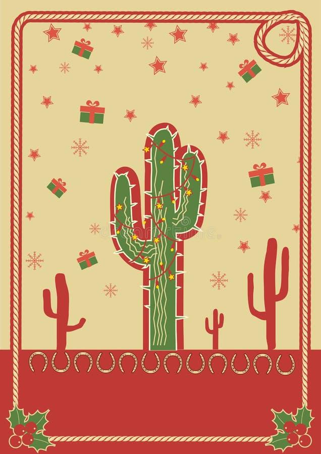 Poster do Natal do cowboy com cacto e corda ilustração do vetor