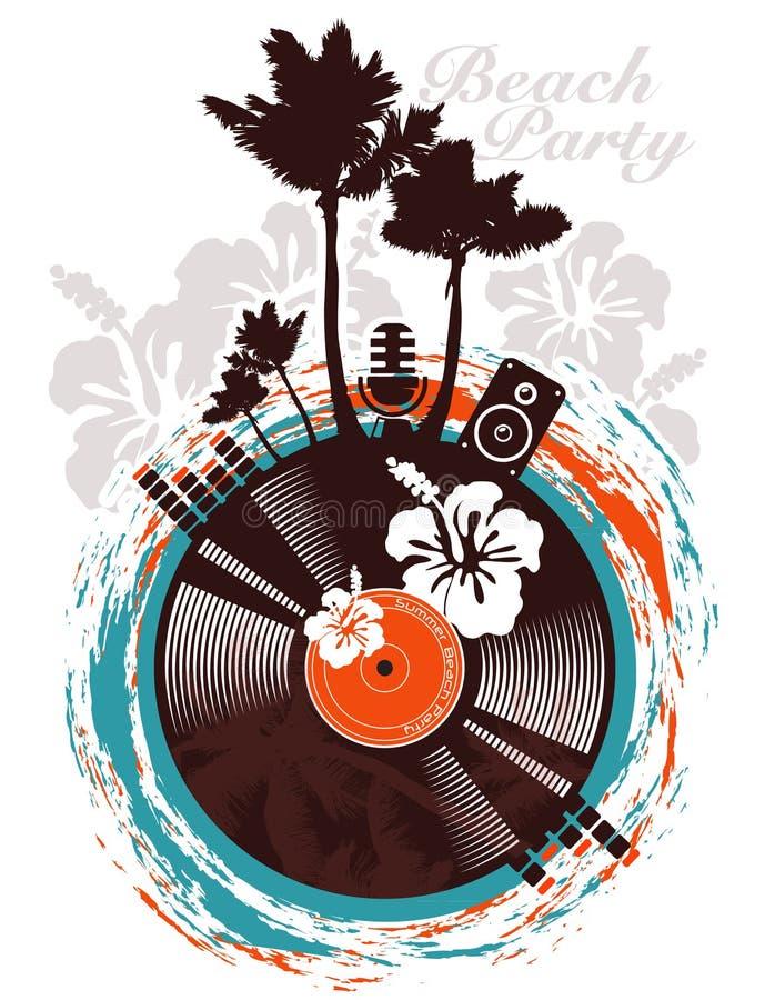 Poster do partido da praia ilustração royalty free