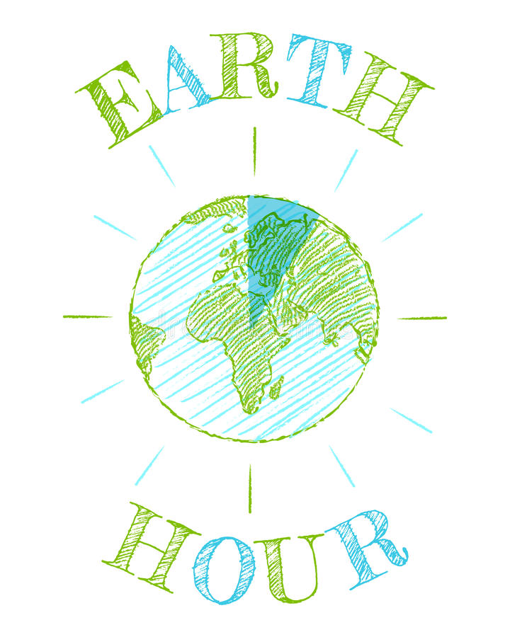 Poster for a Earth hour royalty free illustration