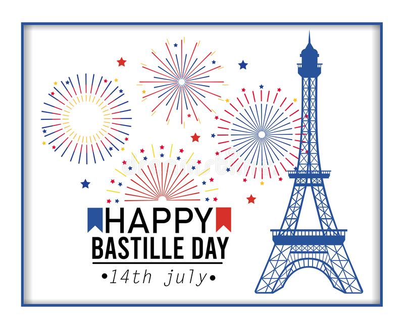 Poster of eiffel tower with fireworks celebration vector illustration