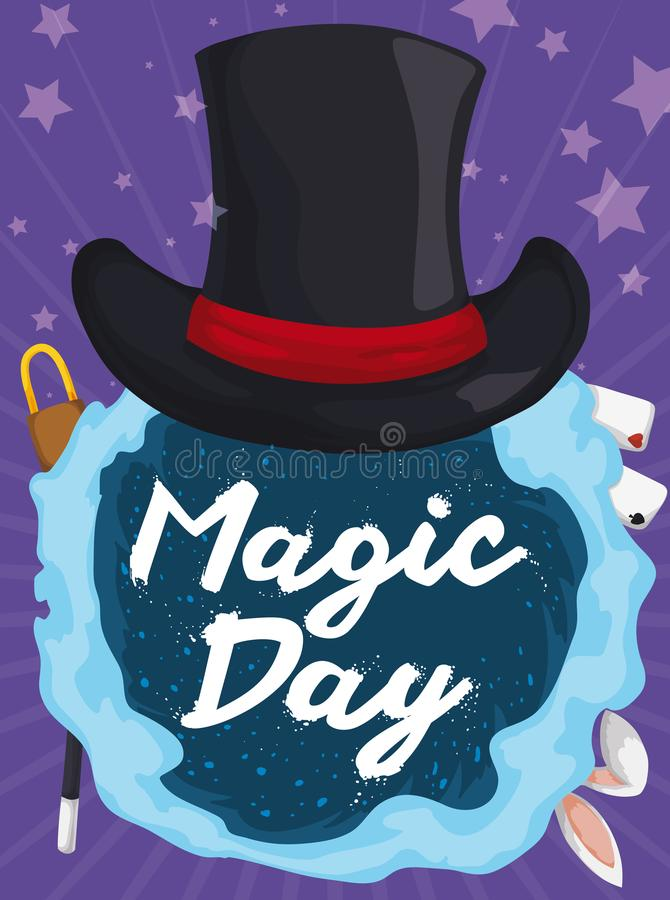 Hat over Vortex full of Magic Tricks for Magic Day, Vector Illustration. Poster with elegant top hat over magic vortex with some traditional tricks: rabbit royalty free illustration