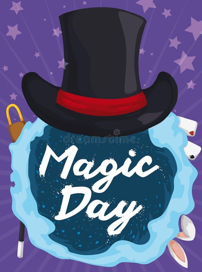 Hat over Vortex full of Magic Tricks for Magic Day, Vector Illustration. Poster with elegant top hat over magic vortex with some traditional tricks: rabbit royalty free illustration