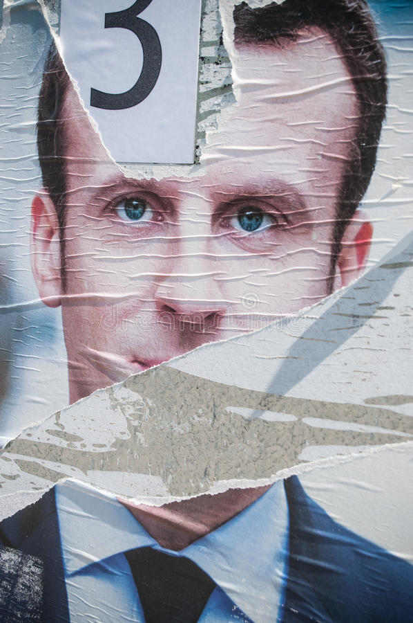 Poster of Emmanuel Macron the finalist. MULHOUSE - France - poster of Emmanuel Macron the finalist candidate for tre presidential election royalty free stock photo