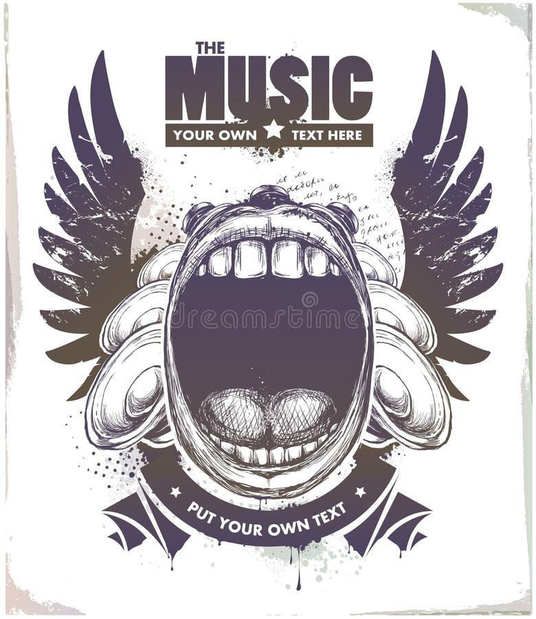 Poster esboçado moderno do musical do estilo ilustração do vetor