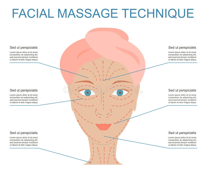 Poster of facial technique massage. Infographic basic scheme of line and directions face massage on beautiful woman. How to apply cream to the face and neck vector illustration
