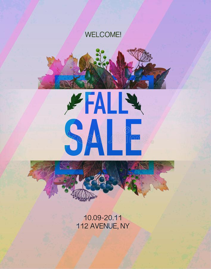 Poster fall sale with leaves and berries. Vector. Poster fall sale with leaves and berries. Vector royalty free illustration