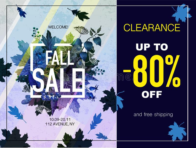 Poster fall sale with leaves and berries. Vector. Poster fall sale with leaves and berries. Vector stock illustration