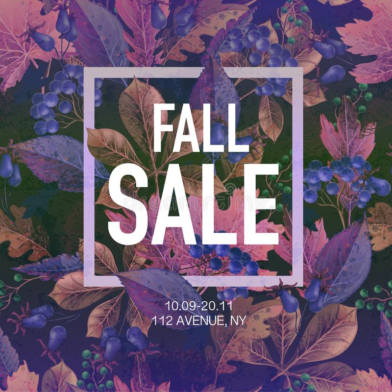 Poster fall sale with leaves and berries. Vector. Poster fall sale with leaves and berries. Vector vector illustration