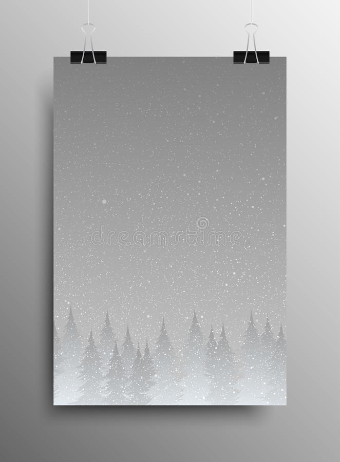 Poster. Falling Snow. Forest. Christmas Trees. Vertical Poster Banner A4 Sized Vector Hanging With Paper Clips. Falling Snow Vector. White Splash on Grey royalty free illustration