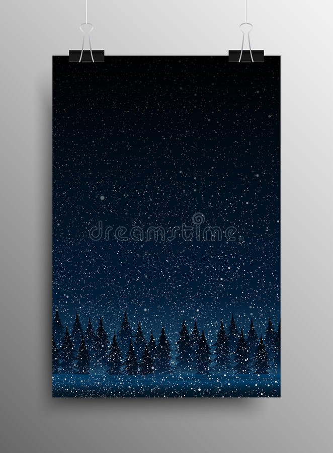 Poster. Falling Snow. Forest. Christmas Trees. Vertical Poster Banner A4 Sized Vector Hanging With Paper Clips. Falling Snow Vector. White Splash on Grey stock illustration