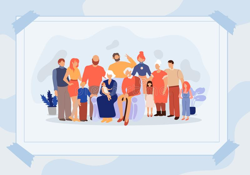Poster Family Photo Different Generations Flat vector illustration