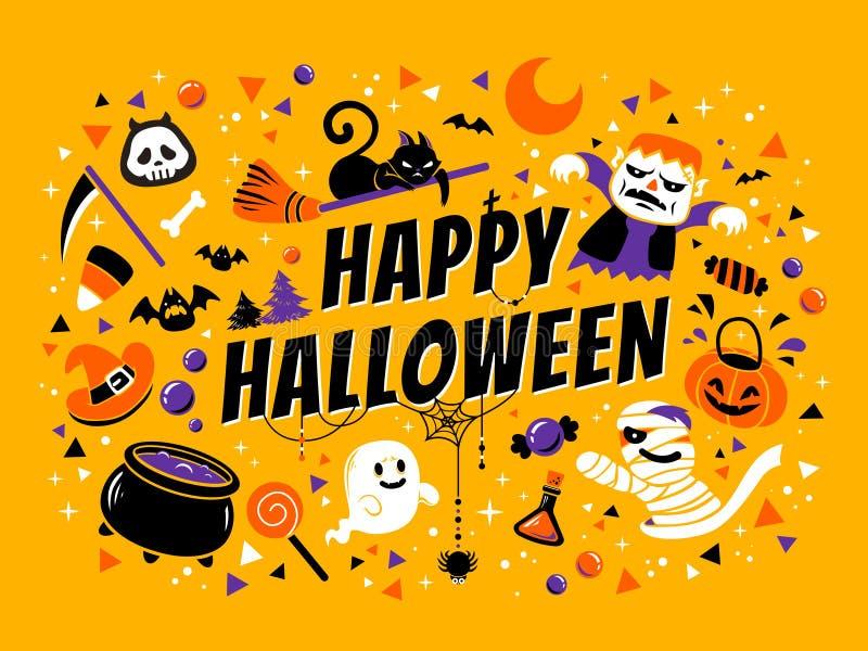 Poster feliz de Halloween ilustração royalty free