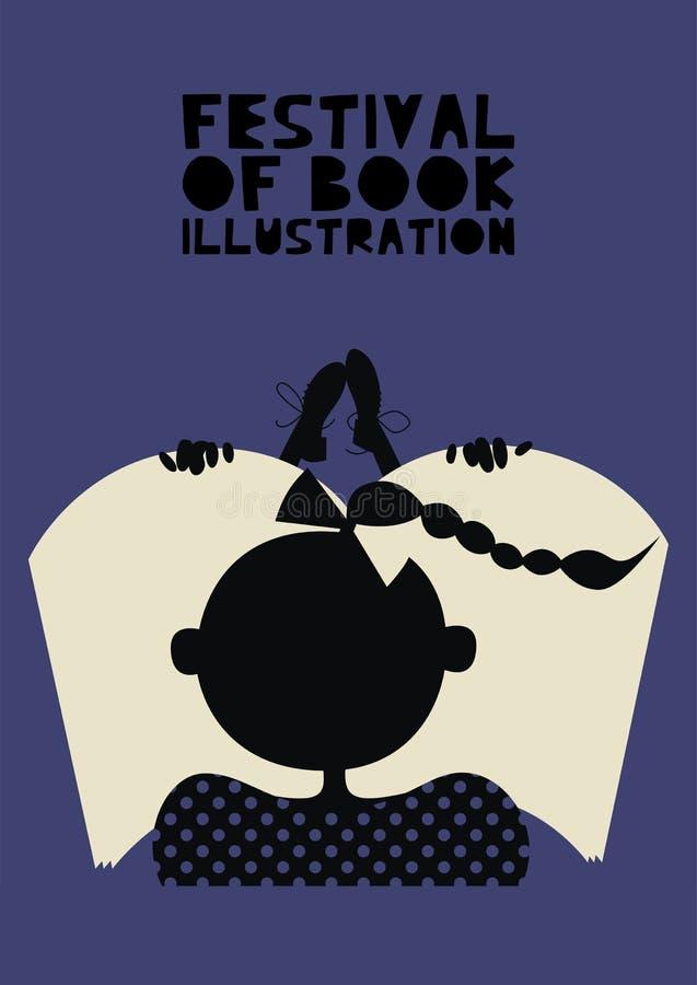 Poster of festival of book illustration concept. Modern graphic design for festival, exhibition, shop royalty free illustration