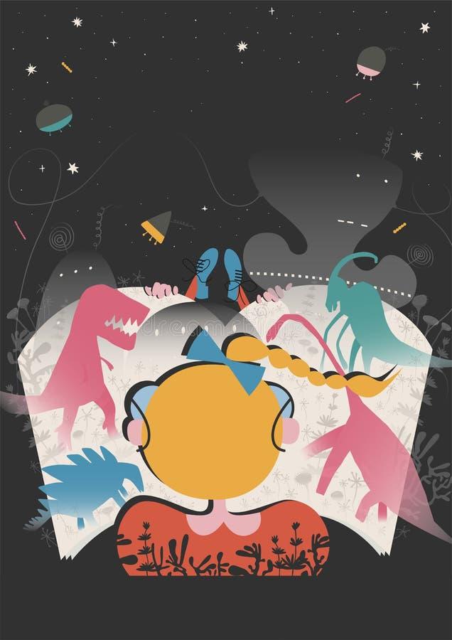 Poster of festival of book illustration concept. Modern graphic design for festival, exhibition, shop vector illustration