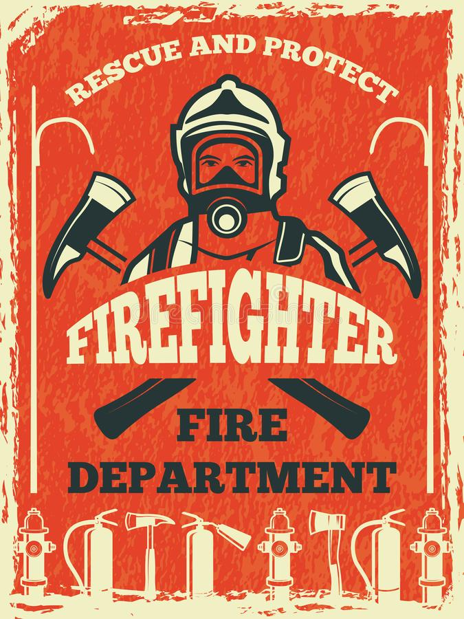 Poster for firefighter department. Design template in retro style. Fire department poster and banner with fighter. Vector illustration stock illustration