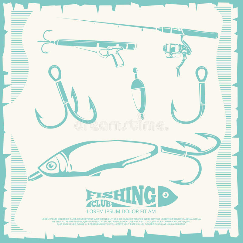 Poster with fishing accesories and equipment. Hook for sport fishing. Vector illustration royalty free illustration