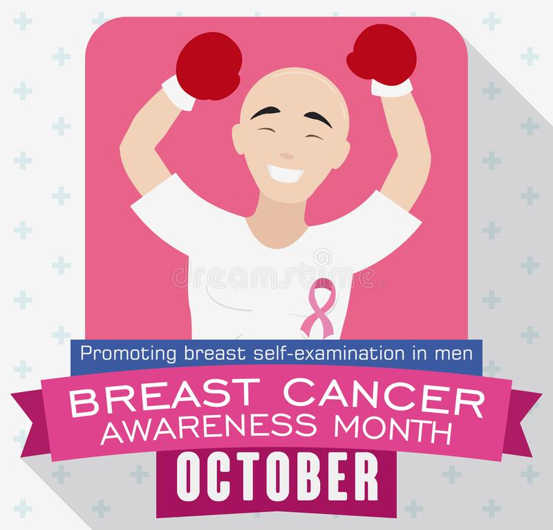 Victorious Bald Man Celebrating Breast Cancer Awareness Month, Vector Illustration vector illustration