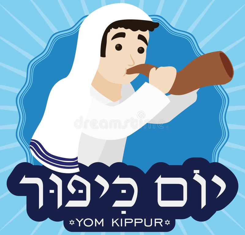 Man Wearing a Tallit and Blowing Shofar for Yom Kippur, Vector Illustration. Poster in flat style with a man wearing a white tallit and blowing Shofar horn over vector illustration