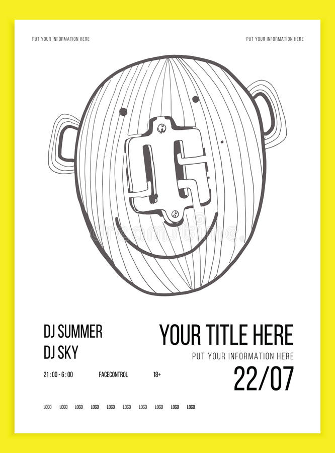 Poster or flyer template for your party event. Minimalism. Vector image. doodle. Poster or flyer template for your party or event. Minimalism. Vector image vector illustration