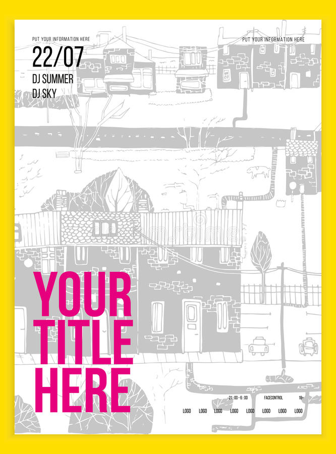 Poster or flyer template for your party event. Minimalism. Vector image. doodle. Poster or flyer template for your party or event. Minimalism. Vector image stock illustration