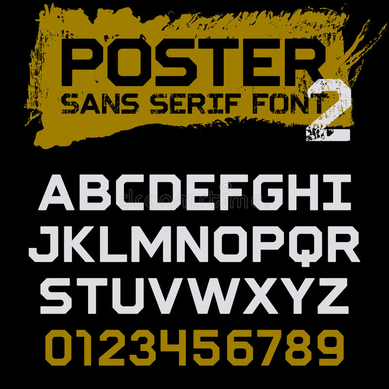 Poster font 002. Poster Geometric font / Vintage vector typeface for headlines, posters, labels and other uses / Uppercase letters and numbers on a grunge royalty free illustration