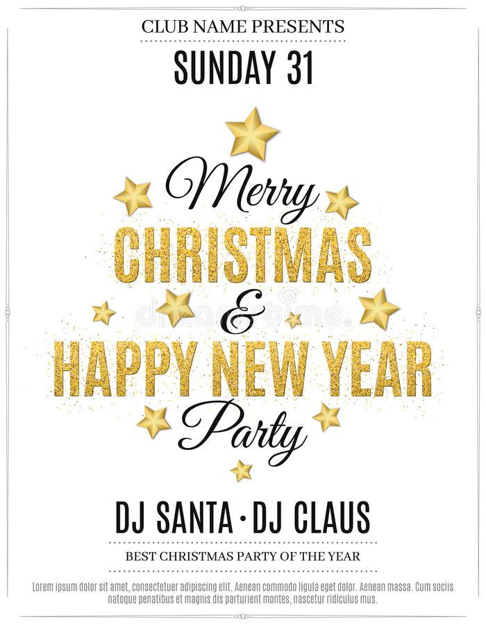 Free Poster For Christmas And New Year Party. Invitation Card. The Text Is Made Of Gold Glitters. White Background. The Names Of The DJ Stock Photos - 105319173