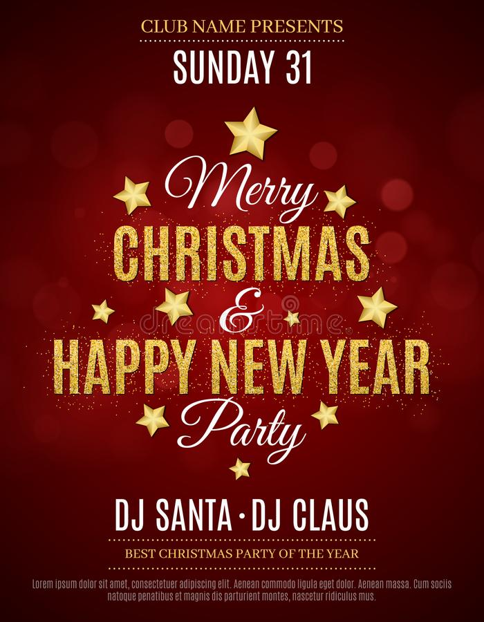 Free Poster For The Christmas And New Year Party. Invitation Card. Red Background. The Text Is Made Of Gold Glitters. Glare Bokeh. The Royalty Free Stock Images - 105318349