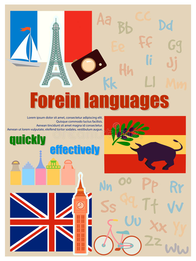Poster for foreign language courses. Flags and attributes from different countries stock illustration