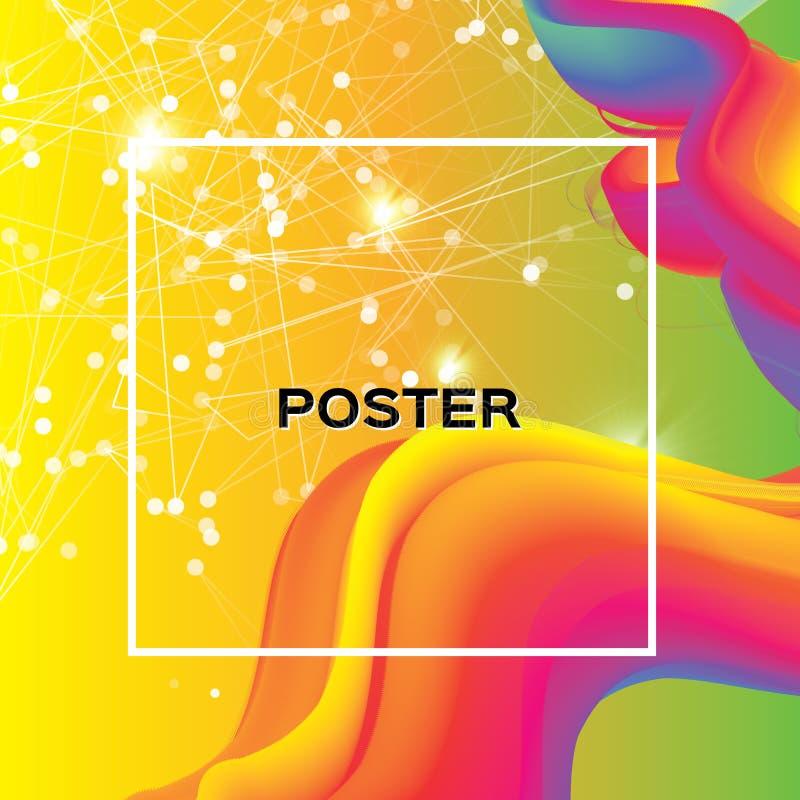 poster Formas coloridas do fumo da onda com quadro quadrado Espaço para o texto Efeito dinâmico abstrato Molde moderno do vetor ilustração stock