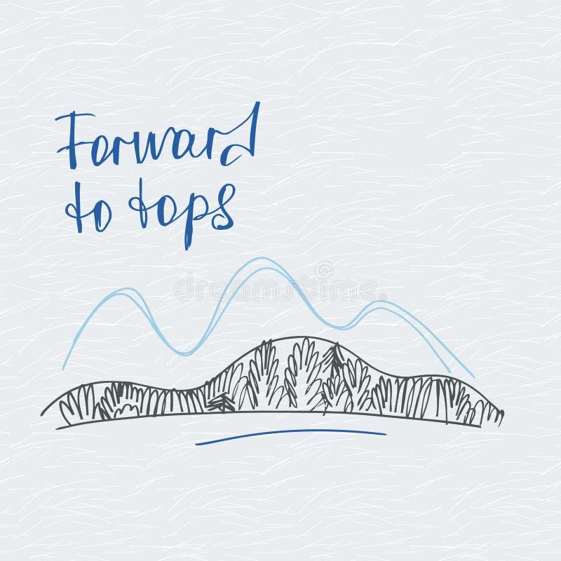 Free Poster Forward To Tops. Mountains Vector Logo. Royalty Free Stock Photos - 68569888