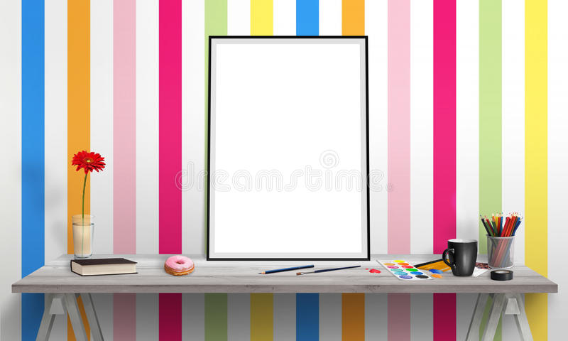 Poster Frame And Laptop On Office Desk For Mockup Stock