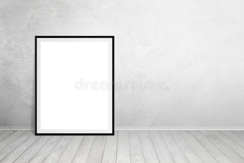 Poster frame leaned on wall with free space for text. Empty space for art product mockup presentation stock image